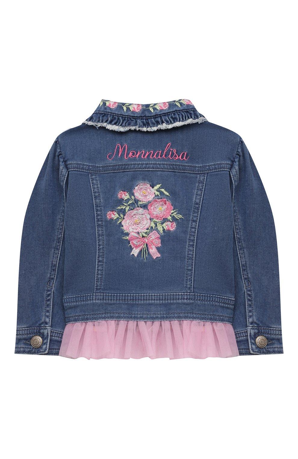 Детского джинсовая куртка MONNALISA синего цвета, арт. 397101R5. | Фото 2