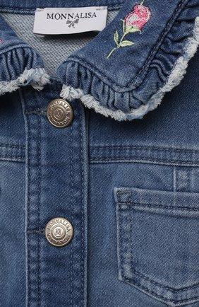 Детского джинсовая куртка MONNALISA синего цвета, арт. 397101R5. | Фото 3