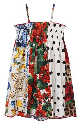 Детское хлопковый сарафан DOLCE & GABBANA разноцветного цвета, арт. L52DS6/G7YQI/2-6 | Фото 1 (Материал внешний: Хлопок; Девочки Кросс-КТ: Сарафан-одежда; Рукава: Короткие; Ростовка одежда: 2 года | 92 см, 3 года | 98 см, 4 года | 104 см, 5 лет | 110 см, 6 лет | 116 см)