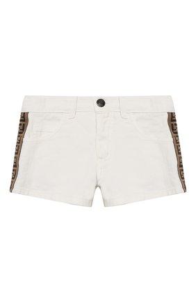 Детские джинсовые шорты FENDI белого цвета, арт. JFF224/AEX0/3A-6A | Фото 1