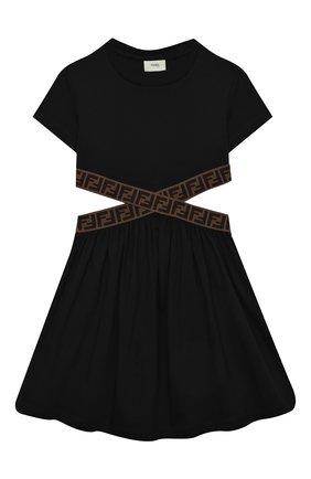 Детское хлопковое платье FENDI черного цвета, арт. JFB443/7AJ/8A-12+ | Фото 1