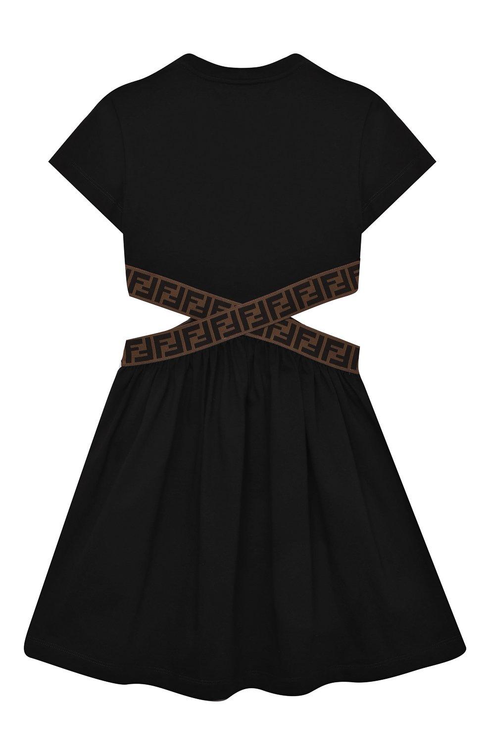 Детское хлопковое платье FENDI черного цвета, арт. JFB443/7AJ/8A-12+ | Фото 2