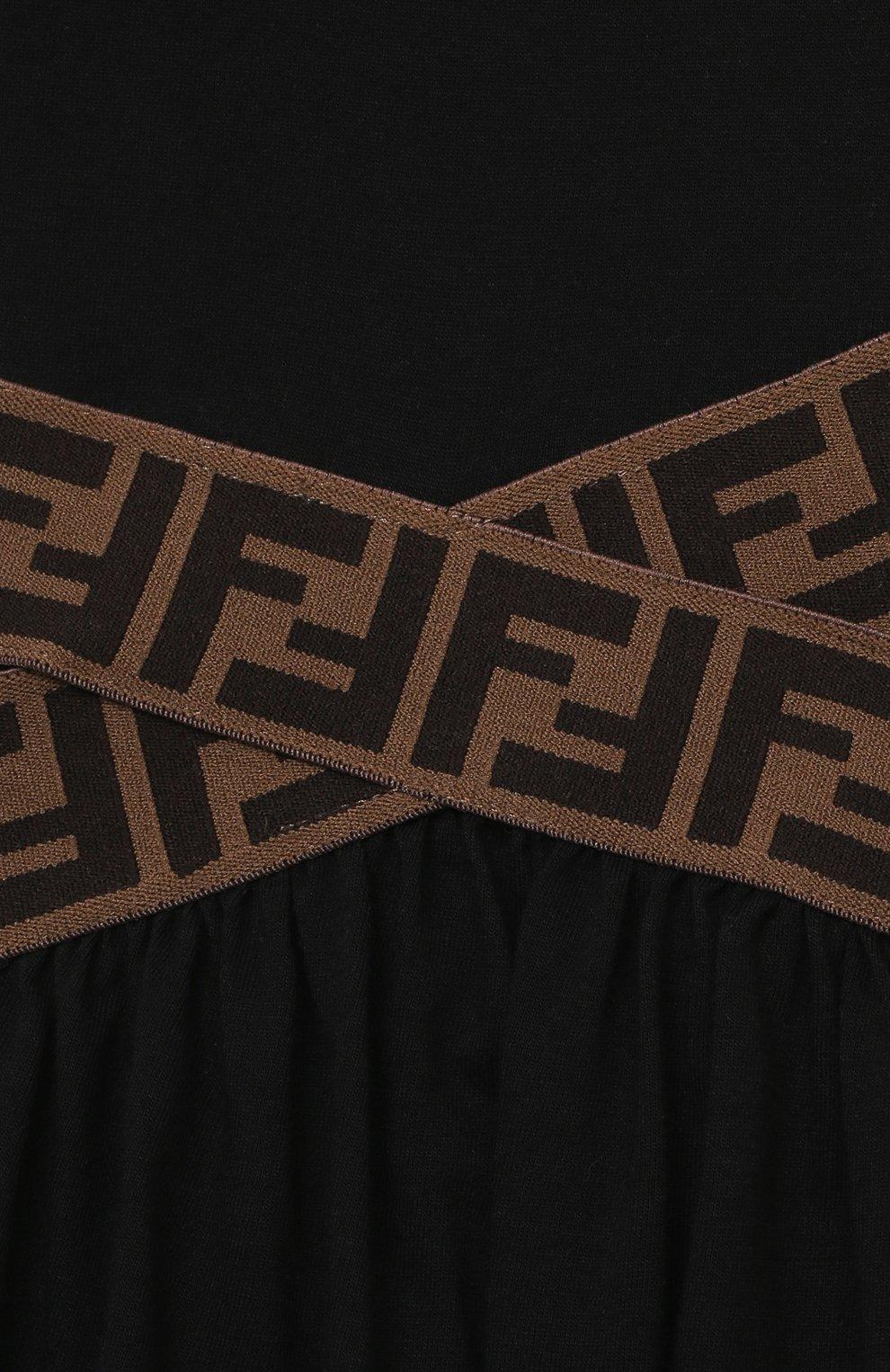 Детское хлопковое платье FENDI черного цвета, арт. JFB443/7AJ/8A-12+ | Фото 3