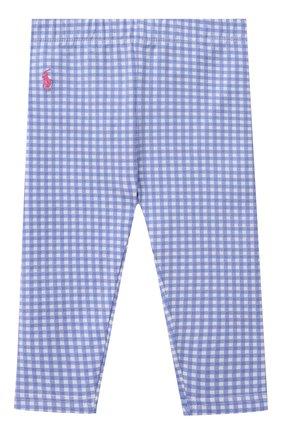 Детские хлопковые леггинсы POLO RALPH LAUREN синего цвета, арт. 310833609 | Фото 1