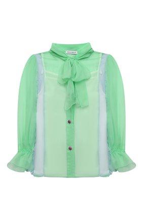 Детское шелковая блузка DOLCE & GABBANA зеленого цвета, арт. L55S16/FU1AT/2-6 | Фото 1 (Рукава: Длинные; Материал подклада: Шелк; Материал внешний: Шелк; Ростовка одежда: 2 года | 92 см, 3 года | 98 см, 4 года | 104 см, 5 лет | 110 см, 6 лет | 116 см)
