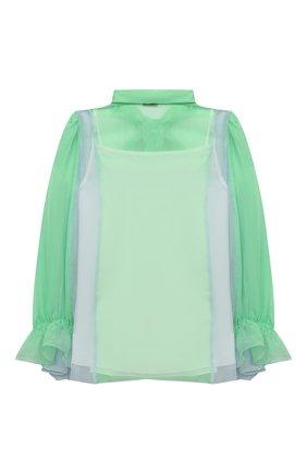 Детское шелковая блузка DOLCE & GABBANA зеленого цвета, арт. L55S16/FU1AT/2-6 | Фото 2 (Рукава: Длинные; Материал подклада: Шелк; Материал внешний: Шелк; Ростовка одежда: 2 года | 92 см, 3 года | 98 см, 4 года | 104 см, 5 лет | 110 см, 6 лет | 116 см)