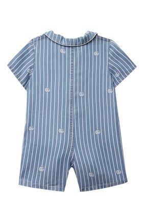 Детское джинсовый комбинезон GUCCI голубого цвета, арт. 644700/XDBJU | Фото 2 (Материал внешний: Лиоцелл; Рукава: Короткие; Ростовка одежда: 0 - 3 мес | 50 - 60 см, 3 мес | 62 см, 9 мес | 74 см)