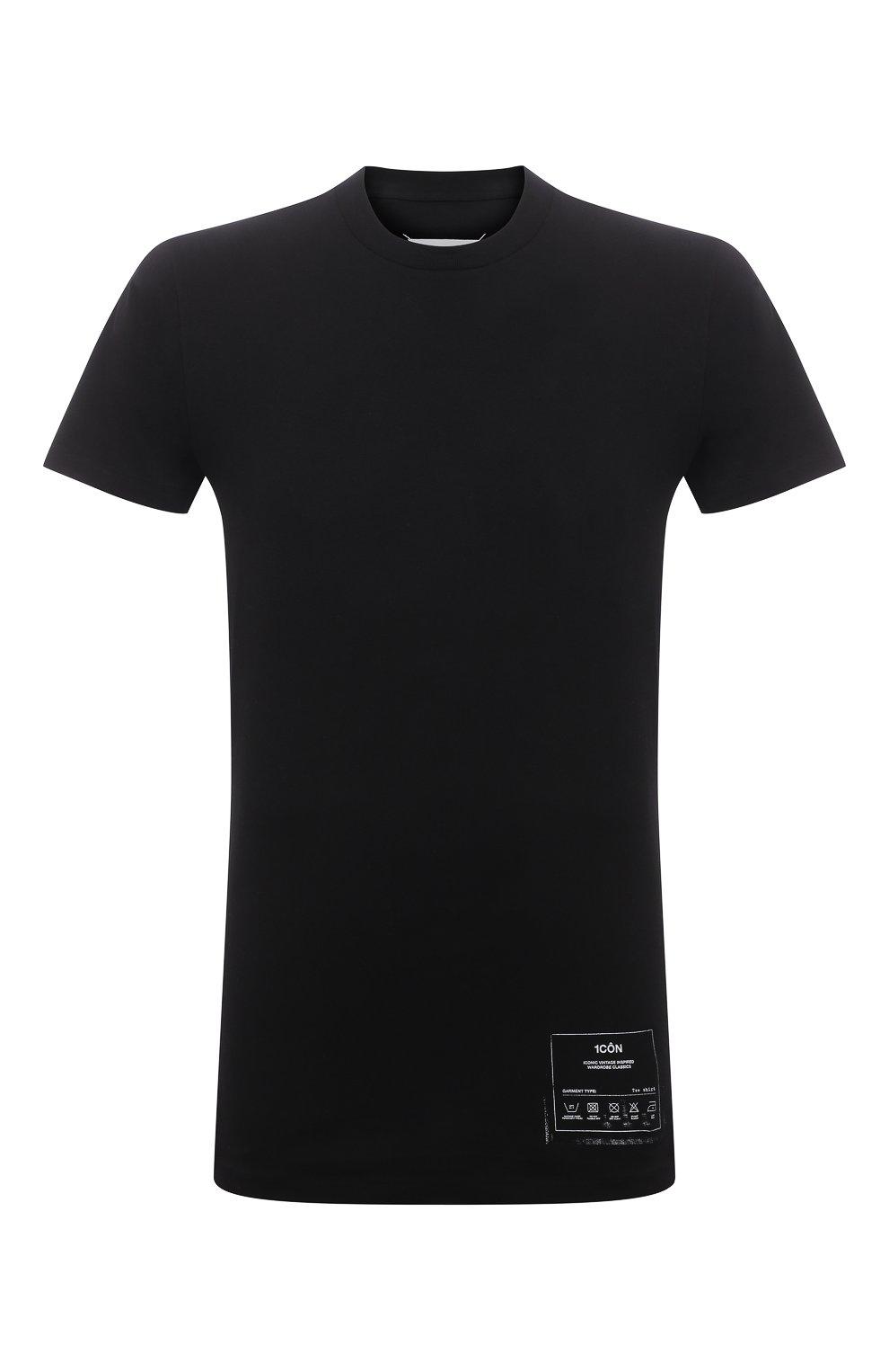 Мужская хлопковая футболка MAISON MARGIELA черного цвета, арт. S50GC0644/S23911   Фото 1 (Рукава: Короткие; Длина (для топов): Стандартные; Стили: Гранж; Принт: С принтом; Материал внешний: Хлопок)