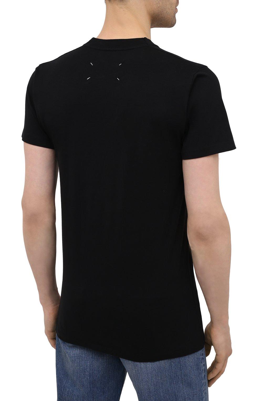 Мужская хлопковая футболка MAISON MARGIELA черного цвета, арт. S50GC0644/S23911   Фото 4 (Рукава: Короткие; Длина (для топов): Стандартные; Стили: Гранж; Принт: С принтом; Материал внешний: Хлопок)