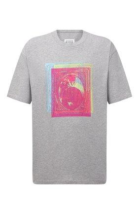 Мужская хлопковая футболка MAISON MARGIELA серого цвета, арт. S50GC0649/S22816   Фото 1 (Длина (для топов): Стандартные; Рукава: Короткие; Материал внешний: Хлопок; Принт: С принтом; Стили: Гранж)