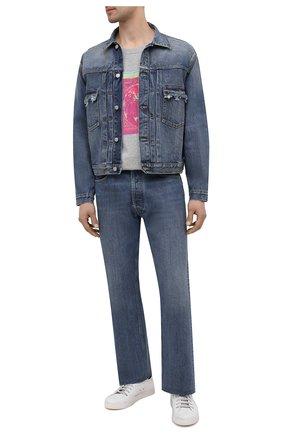 Мужская хлопковая футболка MAISON MARGIELA серого цвета, арт. S50GC0649/S22816   Фото 2 (Длина (для топов): Стандартные; Рукава: Короткие; Материал внешний: Хлопок; Принт: С принтом; Стили: Гранж)