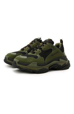 Мужские комбинированные кроссовки triple s BALENCIAGA хаки цвета, арт. 536737/W2CA1 | Фото 1