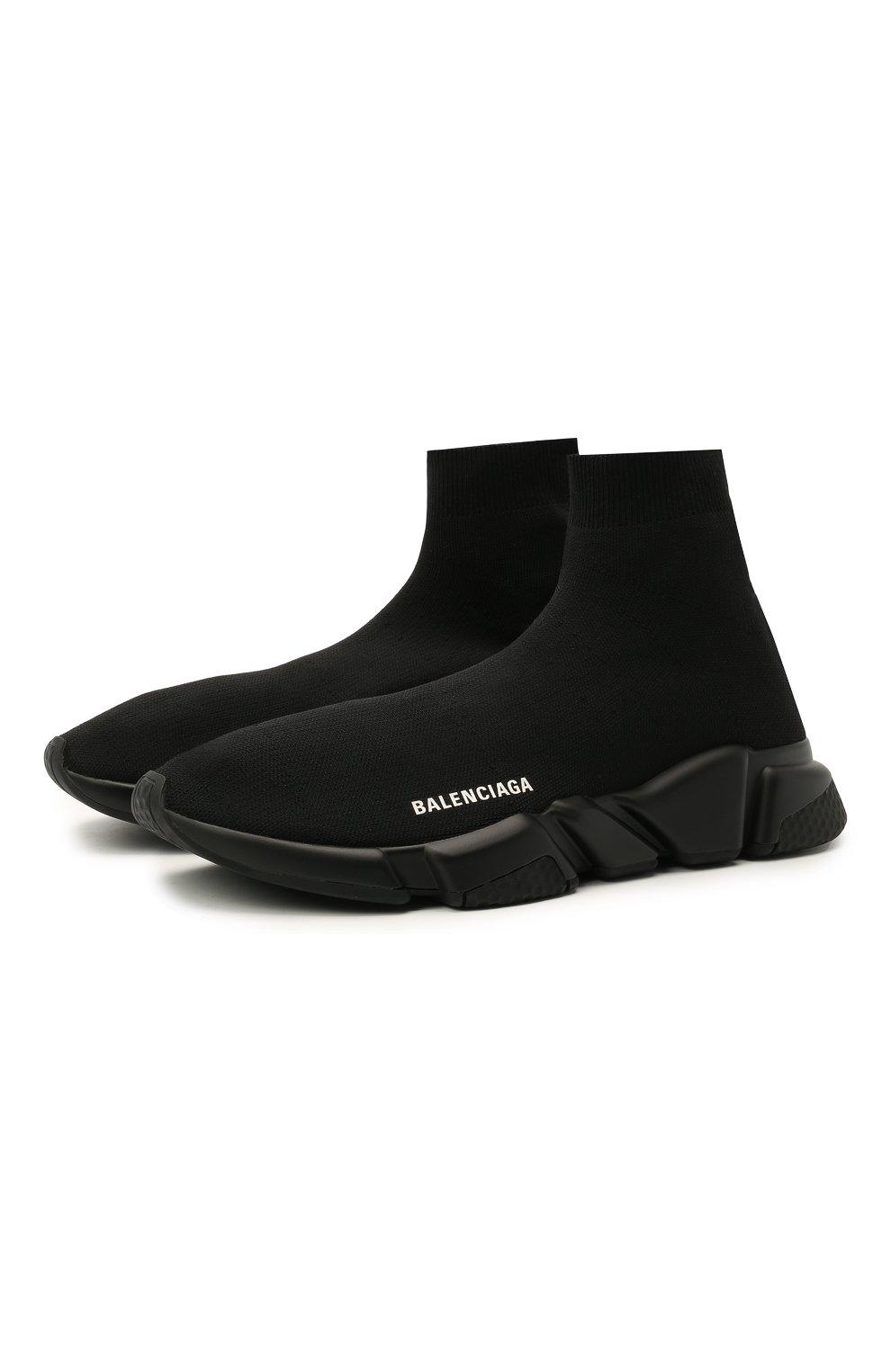 Мужские текстильные кроссовки speed BALENCIAGA черного цвета, арт. 645056/W2DBP   Фото 1 (Материал внешний: Текстиль; Стили: Гранж; Материал внутренний: Текстиль; Подошва: Массивная)