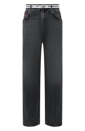 Женские джинсы BALENCIAGA темно-серого цвета, арт. 657615/TBP47 | Фото 1 (Стили: Спорт-шик; Силуэт Ж (брюки и джинсы): Широкие; Длина (брюки, джинсы): Стандартные; Материал внешний: Хлопок, Деним)