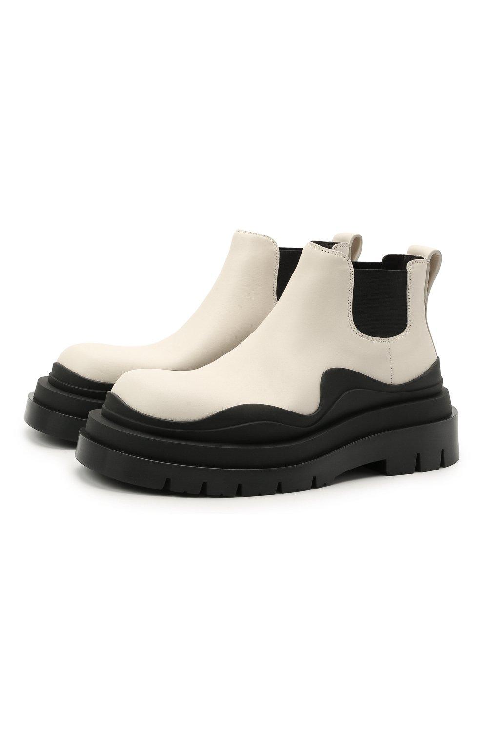 Женские кожаные ботинки bv tire BOTTEGA VENETA черно-белого цвета, арт. 630300/VBS50 | Фото 1