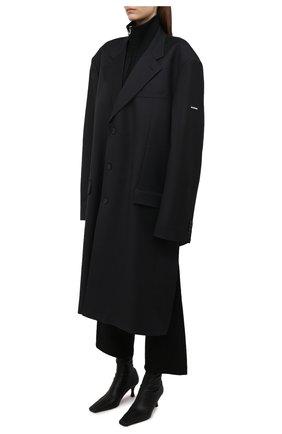 Женское шерстяное пальто BALENCIAGA черного цвета, арт. 658924/TKT08   Фото 3