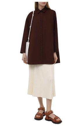 Женская хлопковая рубашка JIL SANDER коричневого цвета, арт. JSWS606905-WS244200 | Фото 2 (Длина (для топов): Удлиненные; Материал внешний: Хлопок; Принт: Без принта; Стили: Кэжуэл; Рукава: Длинные; Женское Кросс-КТ: Рубашка-одежда)