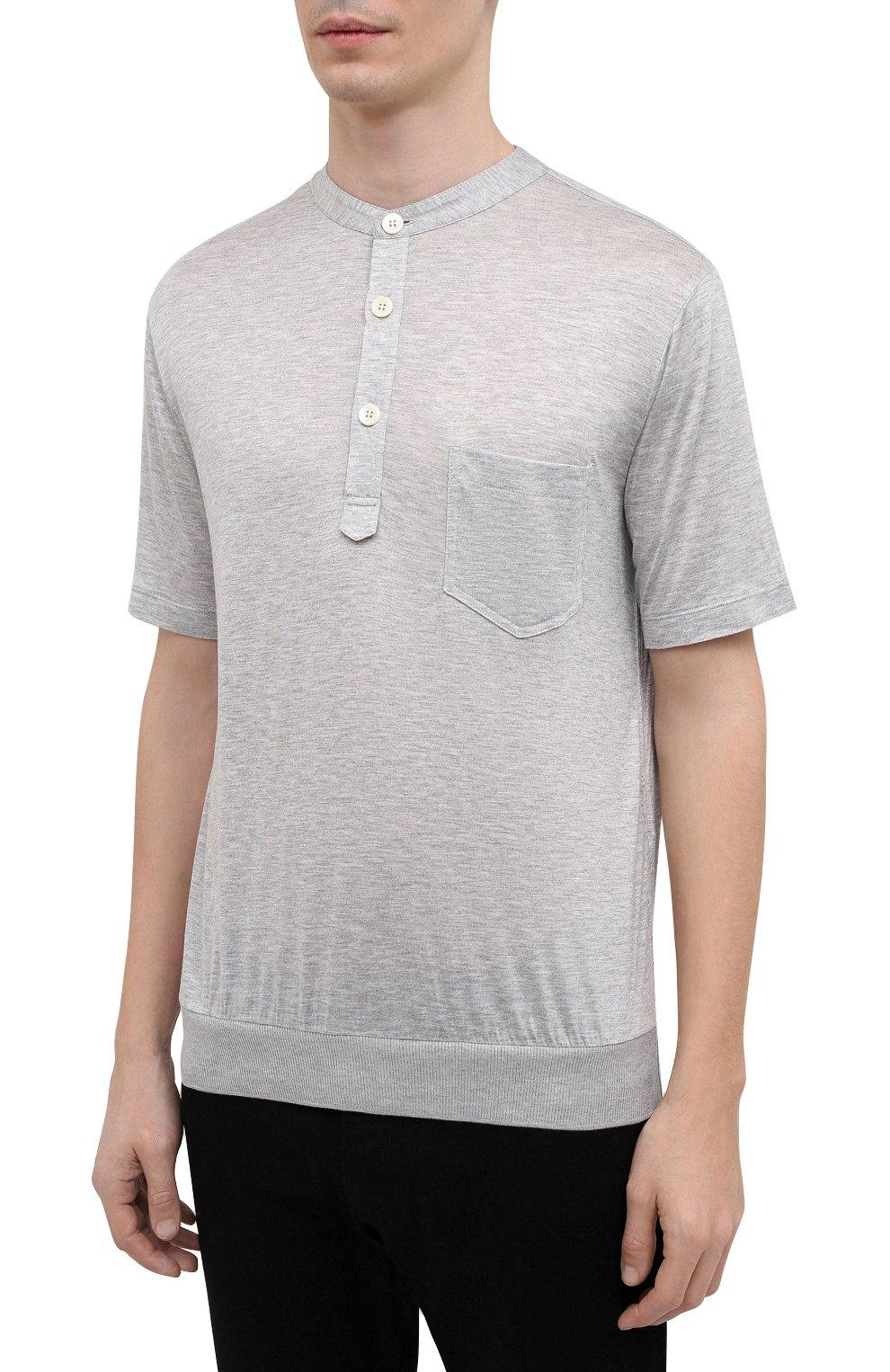 Мужская футболка из вискозы GIORGIO ARMANI серого цвета, арт. 3KSF50/SJYBZ | Фото 3
