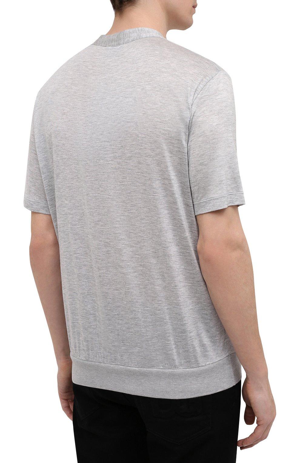 Мужская футболка из вискозы GIORGIO ARMANI серого цвета, арт. 3KSF50/SJYBZ | Фото 4