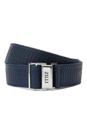 Мужской кожаный ремень ZILLI синего цвета, арт. MJT-SP0RE-01339/0061 | Фото 1
