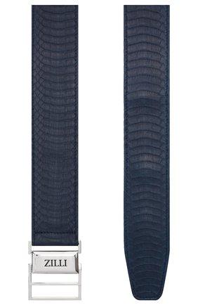 Мужской кожаный ремень ZILLI синего цвета, арт. MJT-SP0RE-01339/0061 | Фото 2