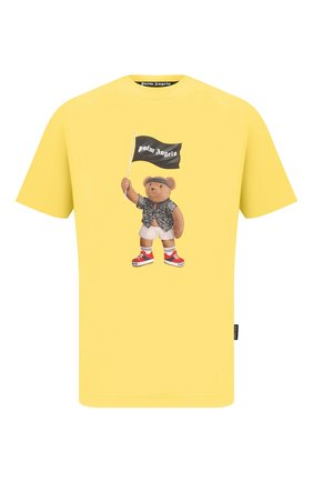 Мужская хлопковая футболка PALM ANGELS желтого цвета, арт. PMAA001S21JER0201801 | Фото 1