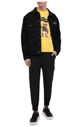 Мужская хлопковая футболка PALM ANGELS желтого цвета, арт. PMAA001S21JER0201801 | Фото 2