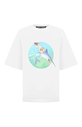 Мужская хлопковая футболка PALM ANGELS белого цвета, арт. PMAA002S21JER0010144 | Фото 1