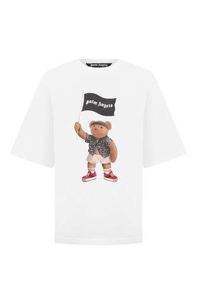 Мужская хлопковая футболка PALM ANGELS белого цвета, арт. PMAA041S21JER0060101   Фото 1