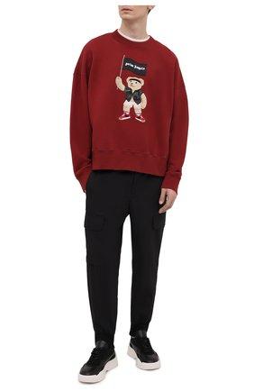 Мужской хлопковый свитшот PALM ANGELS бордового цвета, арт. PMBA026S21FLE0078501 | Фото 2