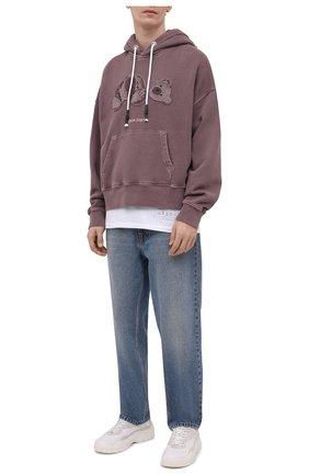 Мужской хлопковое худи PALM ANGELS фиолетового цвета, арт. PMBB058S21FLE0053901 | Фото 2