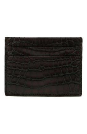 Мужской футляр для кредитных карт из кожи аллигатора ERMENEGILDO ZEGNA коричневого цвета, арт. E1139E-LHALS/AMIS | Фото 1