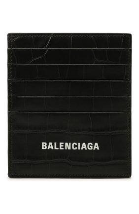 Мужской кожаный футляр для кредитных карт BALENCIAGA черного цвета, арт. 655684/1R0P3 | Фото 1