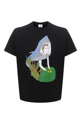 Мужская хлопковая футболка BURBERRY черного цвета, арт. 8040680 | Фото 1