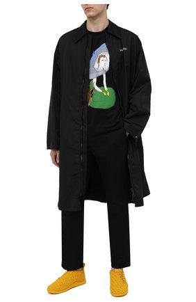 Мужская хлопковая футболка BURBERRY черного цвета, арт. 8040680 | Фото 2