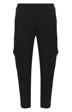 Мужские брюки-карго из хлопка и вискозы TRANSIT черного цвета, арт. CFUTRNE141 | Фото 1