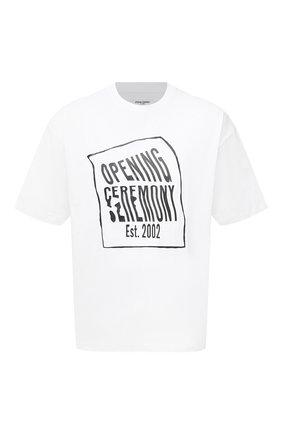 Мужская хлопковая футболка OPENING CEREMONY белого цвета, арт. YMAA001S21JER002 | Фото 1 (Рукава: Короткие; Длина (для топов): Стандартные; Стили: Гранж; Принт: С принтом; Материал внешний: Хлопок)
