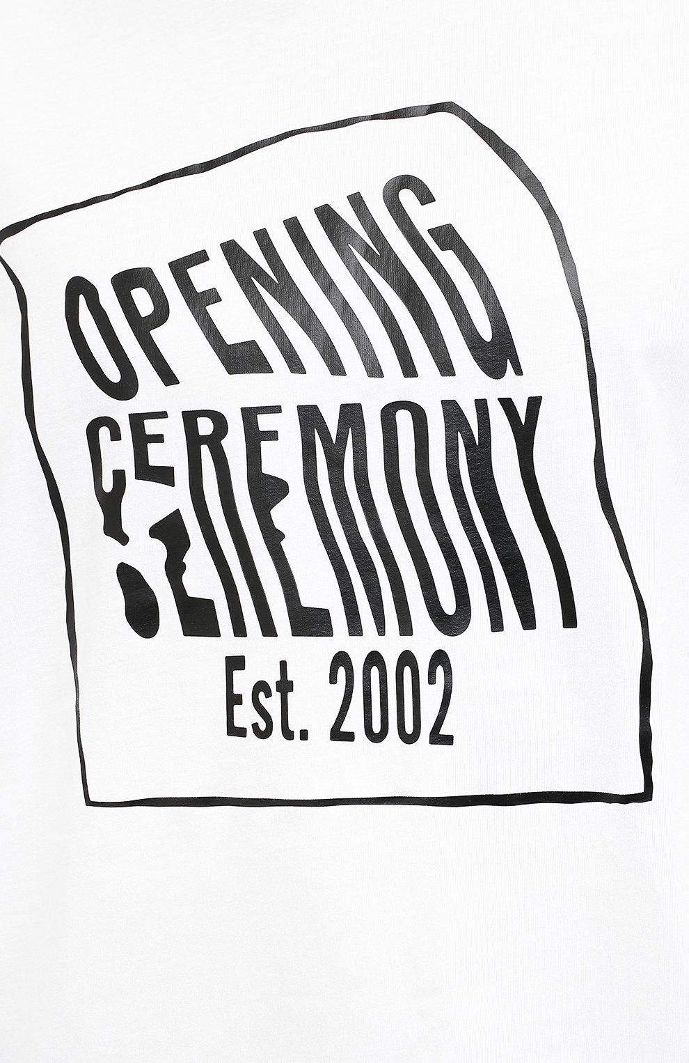 Мужская хлопковая футболка OPENING CEREMONY белого цвета, арт. YMAA001S21JER002 | Фото 5 (Рукава: Короткие; Длина (для топов): Стандартные; Стили: Гранж; Принт: С принтом; Материал внешний: Хлопок)