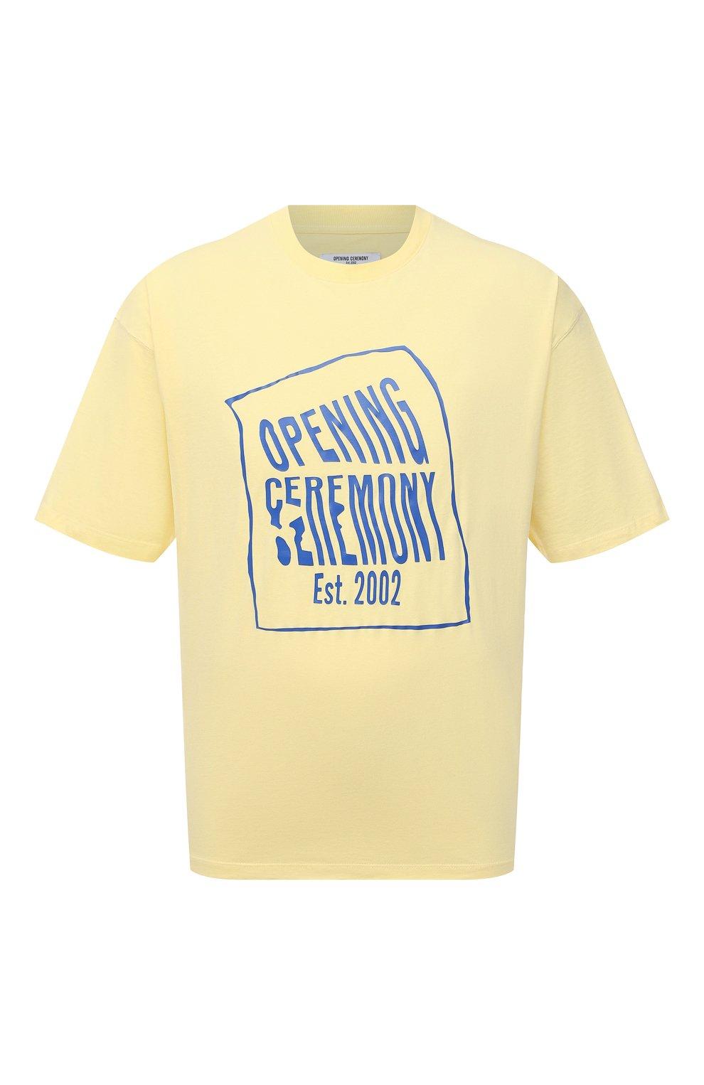 Мужская хлопковая футболка OPENING CEREMONY желтого цвета, арт. YMAA001S21JER002 | Фото 1 (Рукава: Короткие; Длина (для топов): Стандартные; Стили: Гранж; Принт: С принтом; Материал внешний: Хлопок)