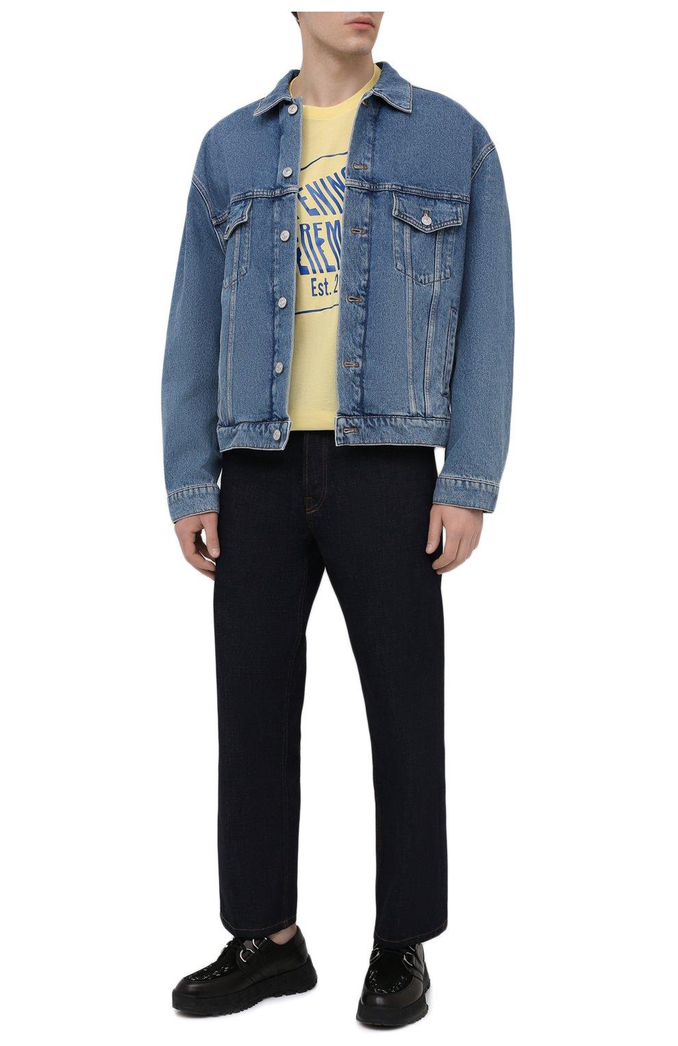 Мужская хлопковая футболка OPENING CEREMONY желтого цвета, арт. YMAA001S21JER002 | Фото 2 (Рукава: Короткие; Длина (для топов): Стандартные; Стили: Гранж; Принт: С принтом; Материал внешний: Хлопок)