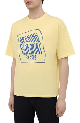 Мужская хлопковая футболка OPENING CEREMONY желтого цвета, арт. YMAA001S21JER002 | Фото 3 (Рукава: Короткие; Длина (для топов): Стандартные; Стили: Гранж; Принт: С принтом; Материал внешний: Хлопок)