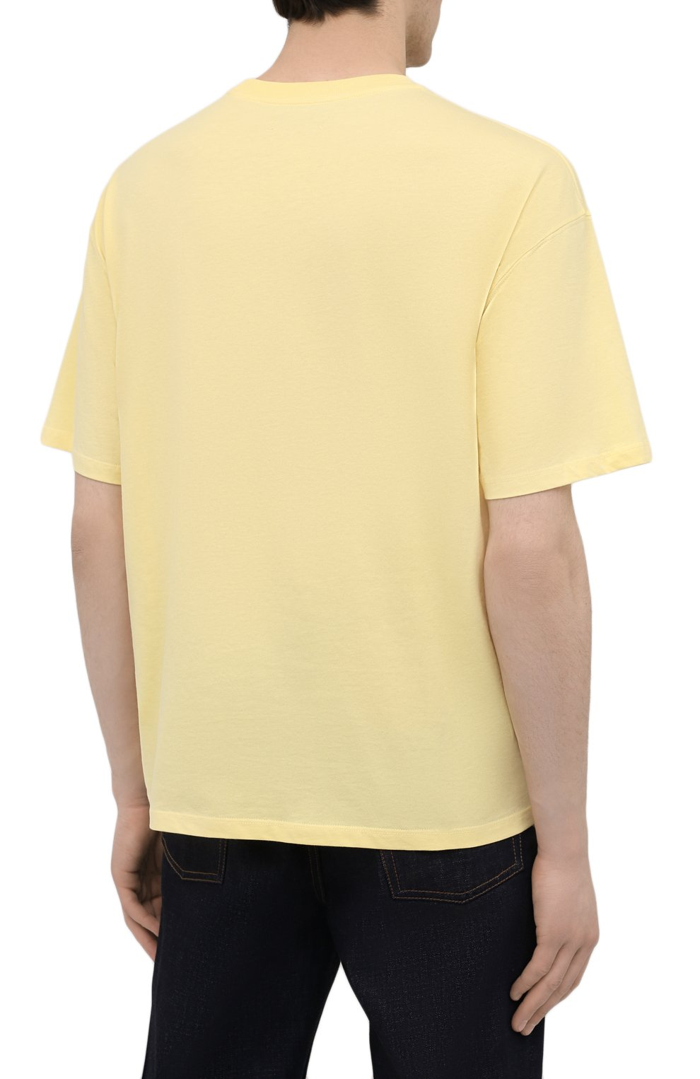 Мужская хлопковая футболка OPENING CEREMONY желтого цвета, арт. YMAA001S21JER002 | Фото 4 (Рукава: Короткие; Длина (для топов): Стандартные; Стили: Гранж; Принт: С принтом; Материал внешний: Хлопок)