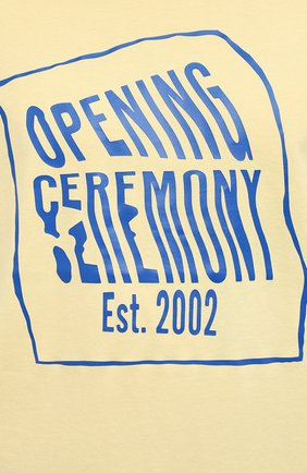 Мужская хлопковая футболка OPENING CEREMONY желтого цвета, арт. YMAA001S21JER002 | Фото 5 (Рукава: Короткие; Длина (для топов): Стандартные; Стили: Гранж; Принт: С принтом; Материал внешний: Хлопок)
