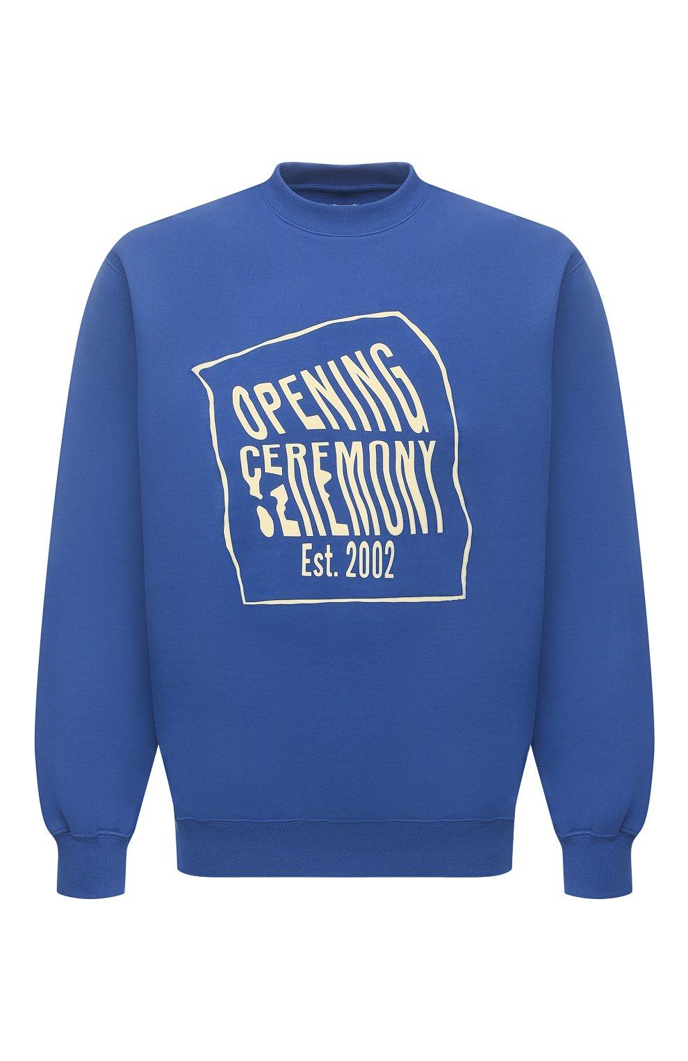 Мужской хлопковый свитшот OPENING CEREMONY синего цвета, арт. YMBA003S21FLE001 | Фото 1 (Рукава: Длинные; Длина (для топов): Стандартные; Стили: Гранж; Принт: С принтом; Мужское Кросс-КТ: свитшот-одежда; Материал внешний: Хлопок)