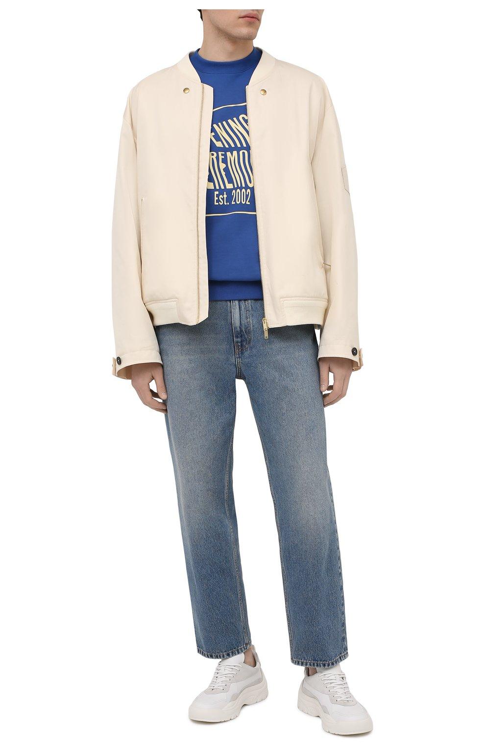 Мужской хлопковый свитшот OPENING CEREMONY синего цвета, арт. YMBA003S21FLE001 | Фото 2 (Рукава: Длинные; Длина (для топов): Стандартные; Стили: Гранж; Принт: С принтом; Мужское Кросс-КТ: свитшот-одежда; Материал внешний: Хлопок)