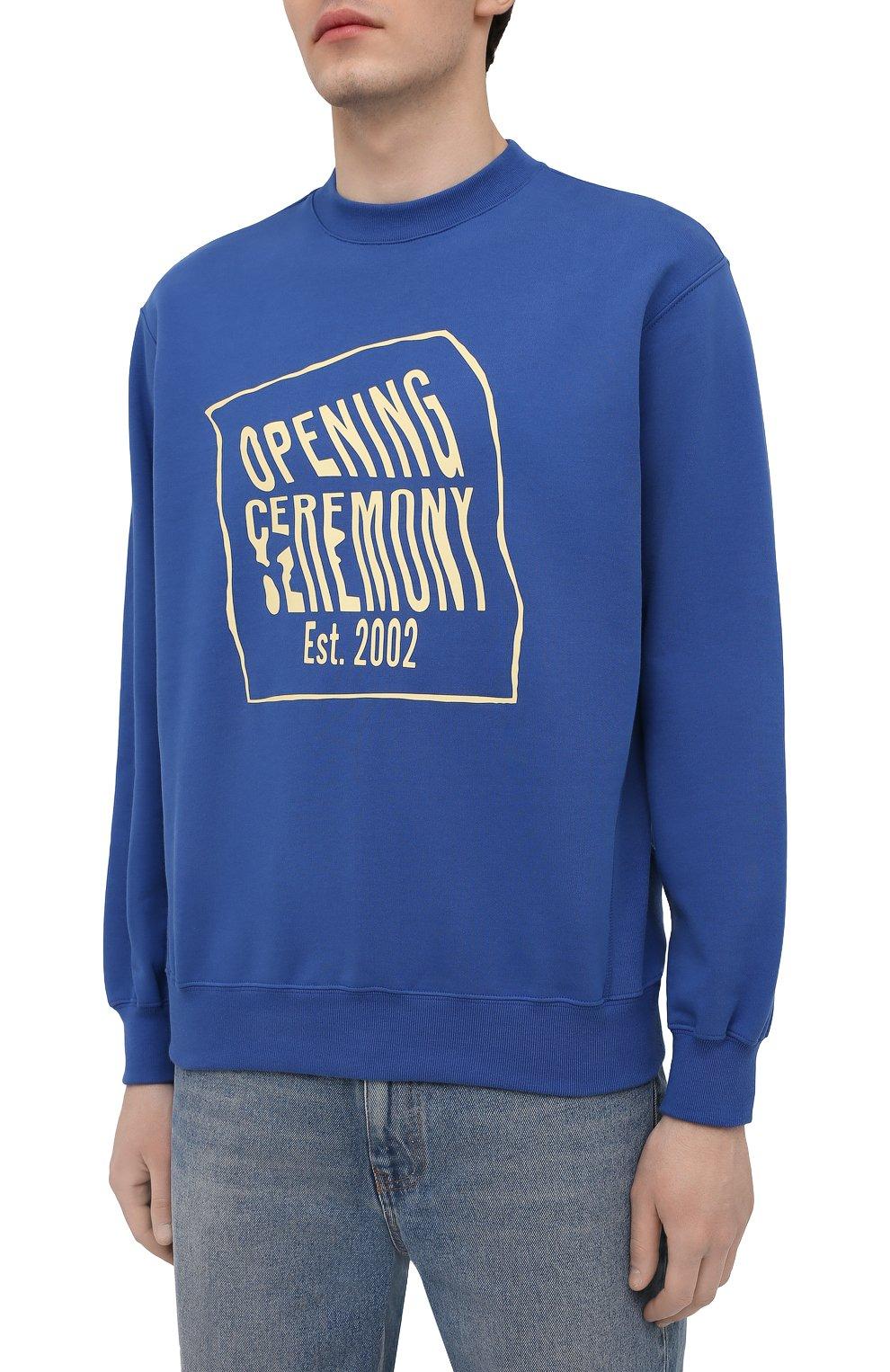 Мужской хлопковый свитшот OPENING CEREMONY синего цвета, арт. YMBA003S21FLE001 | Фото 3 (Рукава: Длинные; Длина (для топов): Стандартные; Стили: Гранж; Принт: С принтом; Мужское Кросс-КТ: свитшот-одежда; Материал внешний: Хлопок)