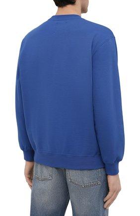 Мужской хлопковый свитшот OPENING CEREMONY синего цвета, арт. YMBA003S21FLE001 | Фото 4 (Рукава: Длинные; Длина (для топов): Стандартные; Стили: Гранж; Принт: С принтом; Мужское Кросс-КТ: свитшот-одежда; Материал внешний: Хлопок)