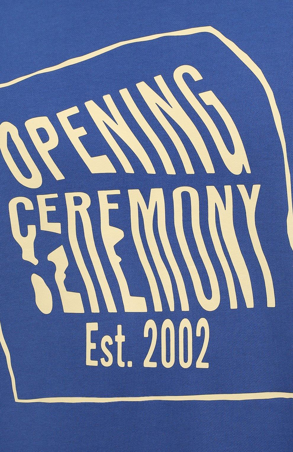 Мужской хлопковый свитшот OPENING CEREMONY синего цвета, арт. YMBA003S21FLE001 | Фото 5 (Рукава: Длинные; Длина (для топов): Стандартные; Стили: Гранж; Принт: С принтом; Мужское Кросс-КТ: свитшот-одежда; Материал внешний: Хлопок)