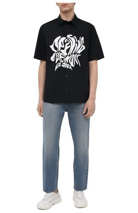 Мужская хлопковая рубашка OPENING CEREMONY черно-белого цвета, арт. YMGA006S21FAB001 | Фото 2