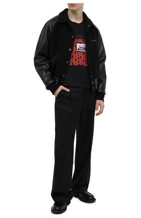 Мужская хлопковая футболка NEIL BARRETT черного цвета, арт. PBJT918A/Q539S | Фото 2